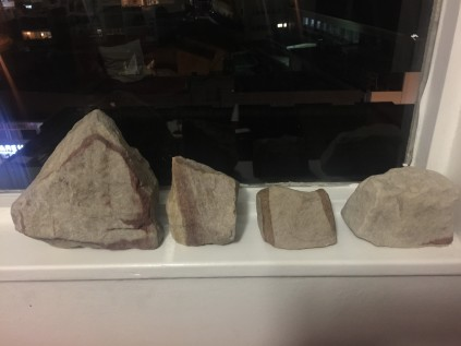 My rocks representing each month climbed: April (far left) March (left) February (right) January (far right)